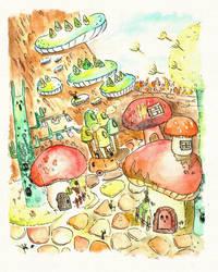Mushroom Village by supperfrogg