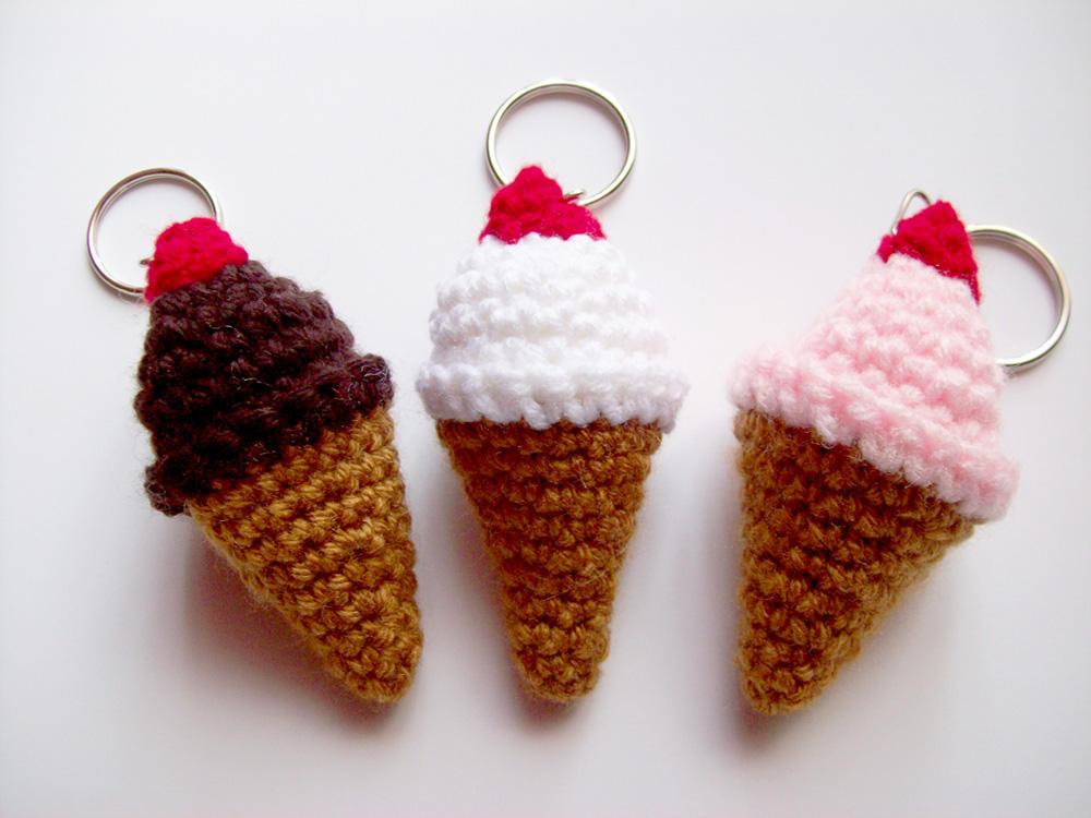 Crochet Ice Cream Cone Keychain Amigurumi by BritneyPringle