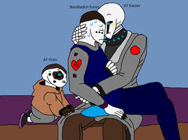 AT Gaster taking care of a sick Natalia by Natalia-Clark