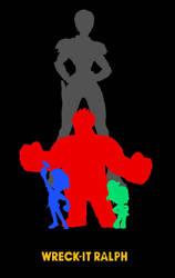 Wreck It Ralph Characters Silhouette Minimal by EspioArtwork