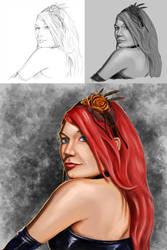Redhead Portrait progress by Dinoforce