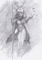 Druid elf lady for /r/characterdrawing by ChalidDraws