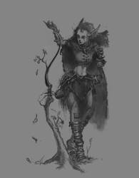 High elf druid crafting a bow by ChalidDraws