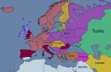 Post Rome - Language Families by Maszio