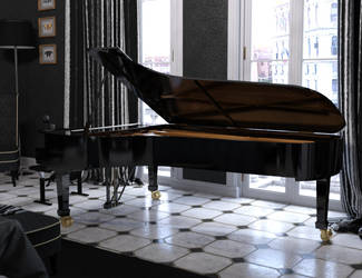 Grand Piano by the Window by Protozoon75