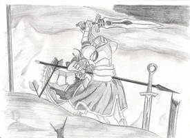 Saber vs. Mordred by QuarterVonLoeweQueen