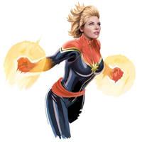 Captain Marvel Digital Painting by danomano65