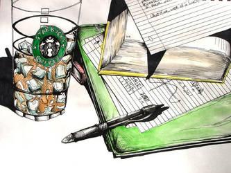 Homework at Starbucks by danomano65