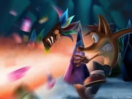 Crash Vs. Dingodile redone by SilentCartoonist