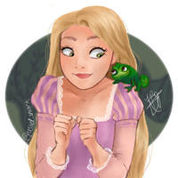 Rapunzel and Pascal by pastelshark1103