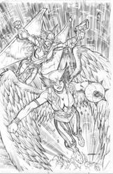 Hawkgirls by Kevin-Sharpe