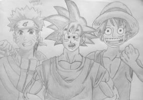 Naruto, Goku, Luffy (Shadows) by Vanites