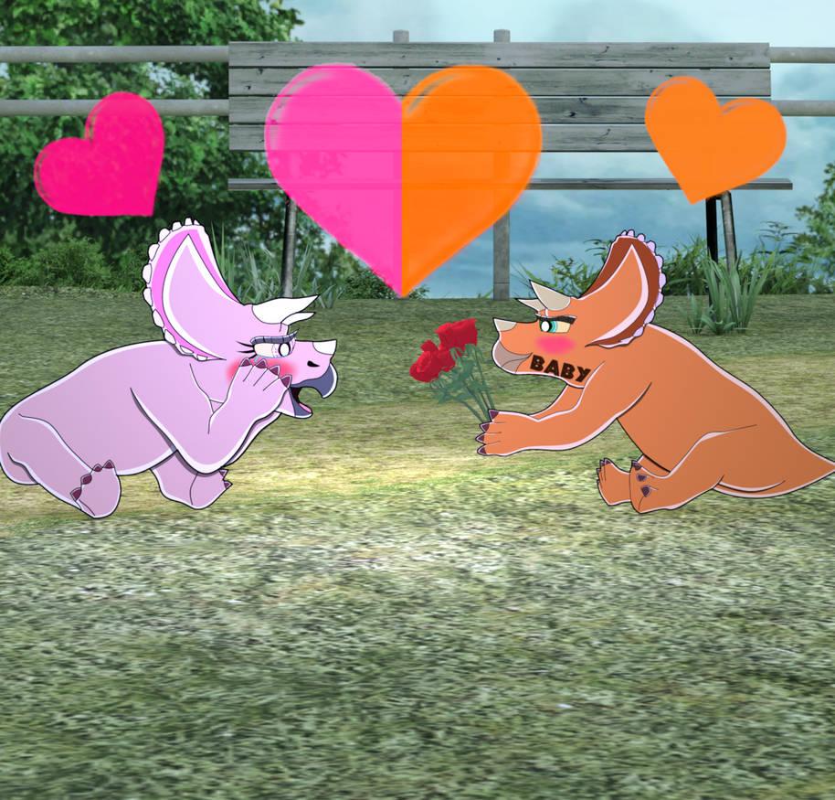 Trikey's Valentine. by Spinosaurusking875