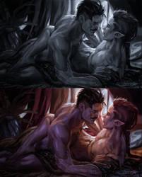 dorian + lavellan by Ymirr