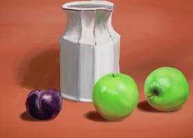 Still Life Two Apples Pruim by Hupie