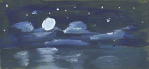 Night Sky Water by Hupie