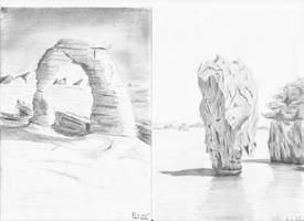 Rocky nature landscape drawings by Hupie