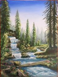 Waterfall Landscape Dolomites by Hupie