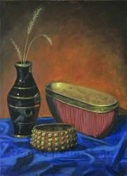 Still Life Vase, Pot and Bracelet by Hupie