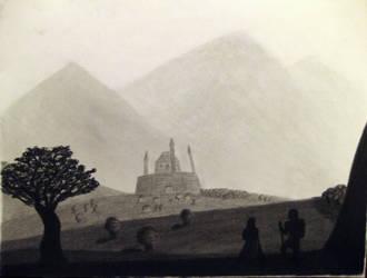 Drawing 2: Castle Scene by BFan1138