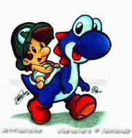 Yoshi and Baby Luigi by NatSilva