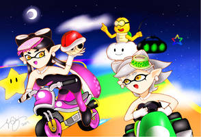 Squid Sisters For Mario Kart! by 7colors0