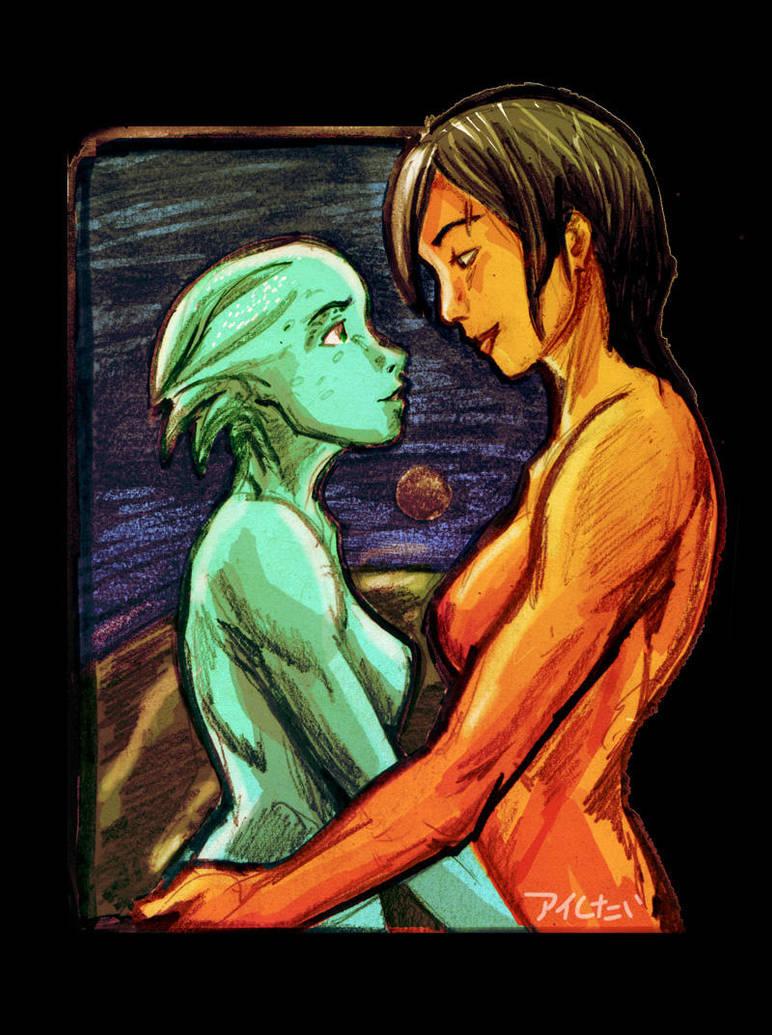 Liara and Shepard by Aishitai
