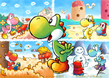 Yoshi's Island - Seasons by MKDrawings