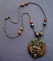 Polymer clay Owl Pendant Necklace by MandarinMoon