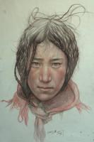 Portrait of Tibetan Teenager by william690c