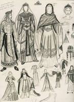 Byzantine clothing sketch by Theophilia