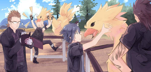 At the Chocobo post by Harutaka