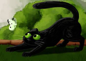 Cat and butterfly by RocaTeithmore