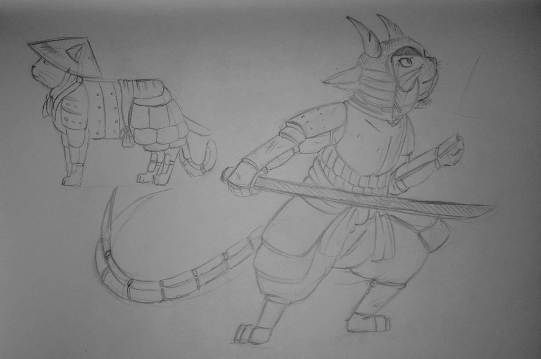 Sketch samurai cat by RocaTeithmore