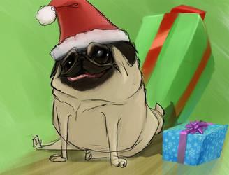 Pug Santa by GregoryRoth
