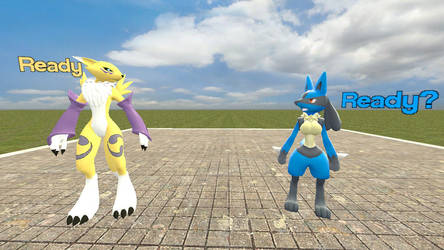 Renamon and Female Lucario growth part 1 by legoben2