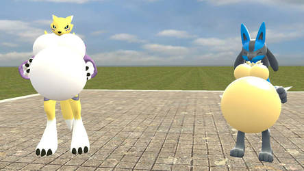 Renamon and Female Lucario growth part 2 by legoben2