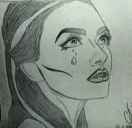 Pop Art(ish) Sad crying girl drawing by Ess96