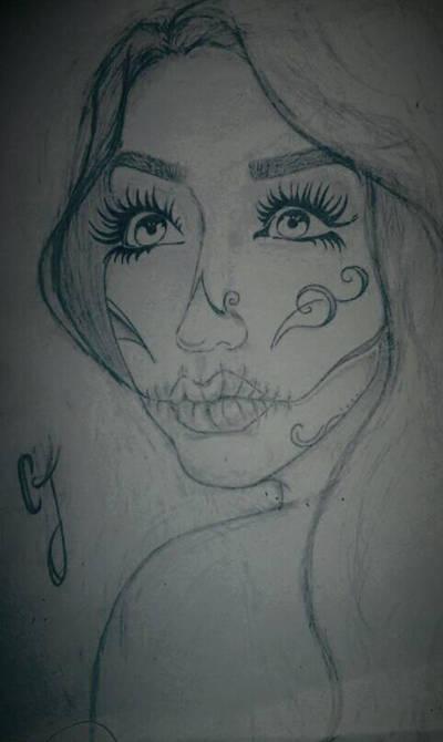 Sugar Skull Girl Portrait Drawing by Ess96
