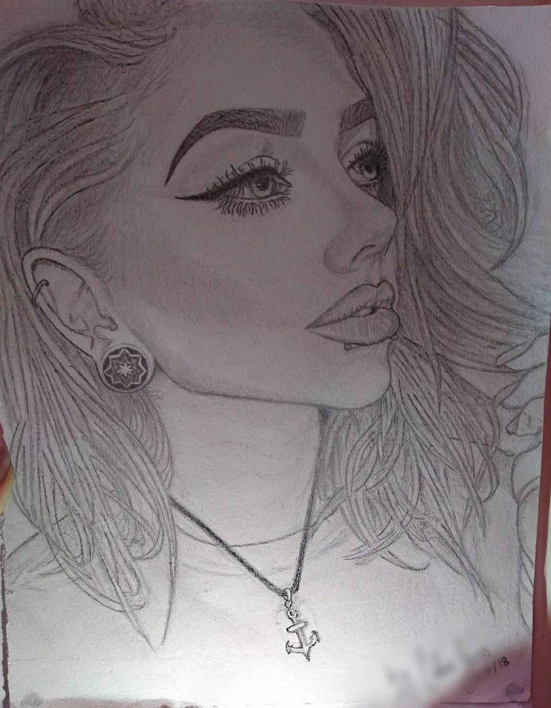Not so typical girl portrait original drawing  by Ess96