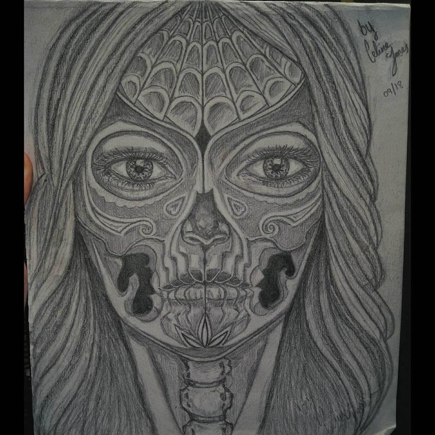 Sugar skull female corpse portrait sketch by Ess96