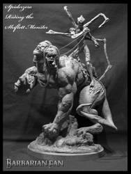 Spiderzero Riding the Shiflett Monster by BarbarianFanSculpt