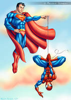 Supes vs Spidey by MalSemmensArt