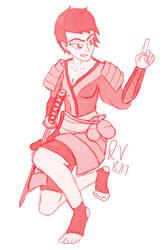 Female Samurai Sketch Request by JohnnyVe3