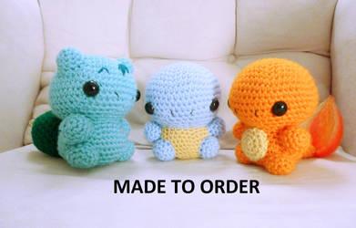 Kanto Region Starters by The-love-of-Crochet