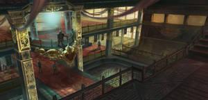 Ship interior scene by lafemmedart218
