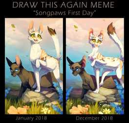 'Songpaw's First Day' before and after meme by LttleGhost