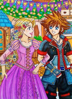 Sora and Rapunzel: Kingdom Dance by dagga19