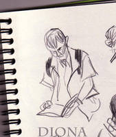 Guy reading in subway by DionaK