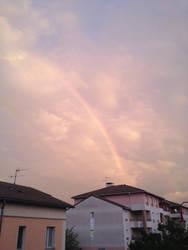 Orange sky with rainbow by Epoc22
